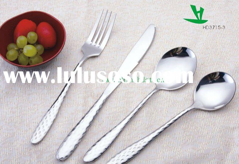 21PCs stainless steel Cutlery Sets,Slender handle with inlaid diamond shape-HD3715