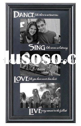 "3 opening 5x7"" wood carved love picture frames"