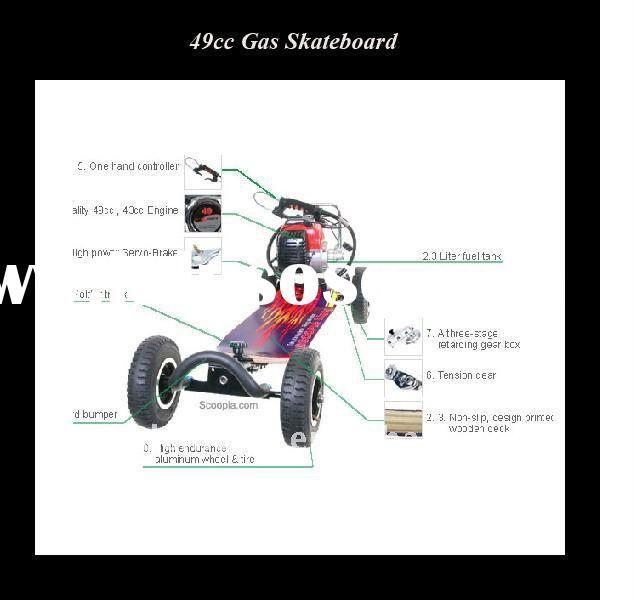 4 wheel gas scooter 49cc / gas skateboard