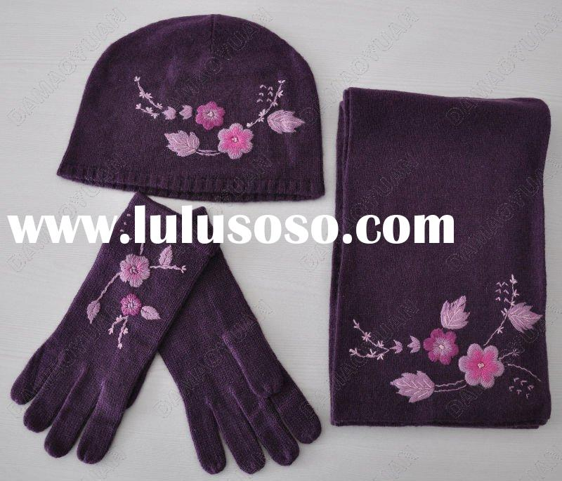 50% CASHMERE 50% WOOL KNITTED SCARF/GLOVE/HAT SETS