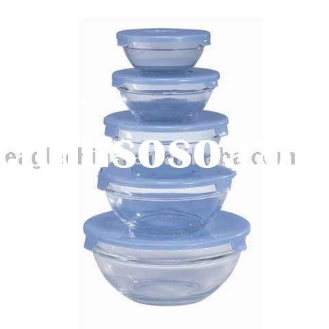 5pcs Glass Bowl Set With Plastic Lid, Glass Bowls With Plastic Cover