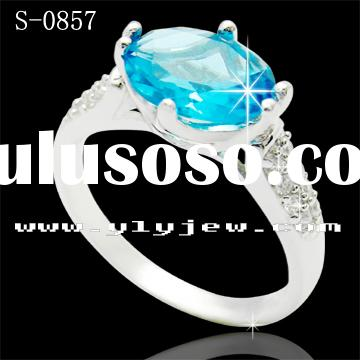 925 Silver Zircon Ring ,blue stone rings