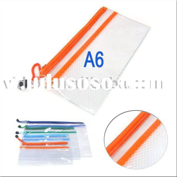 A6 pvc Gridding file bag with zipper and interlayer