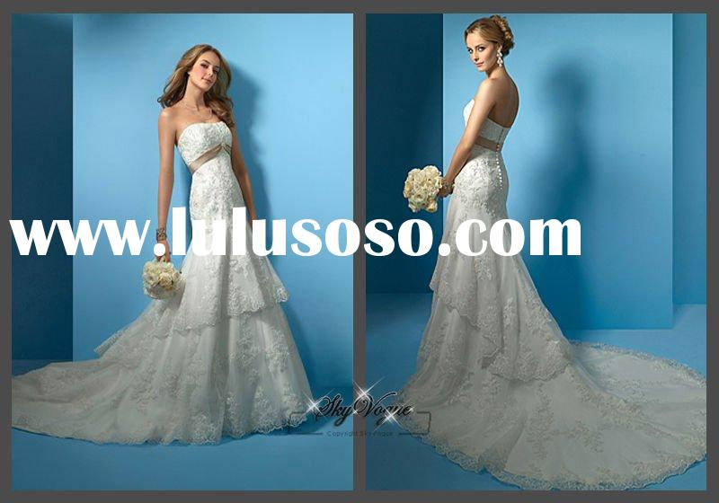 AA2020*Mermaid Strapless White Lace Wedding Dress