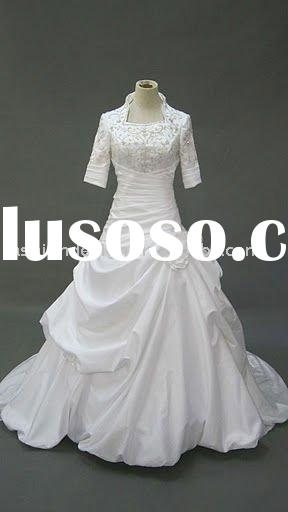 AH306 reality half sleeve embroidered satin long trailing wedding gown