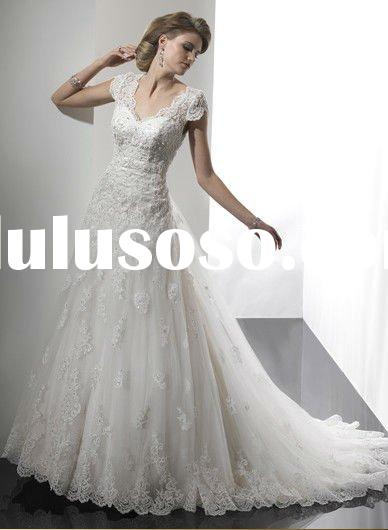 A line cap sleeves gorgeous princess lace applique wedding dress/2011 wholesale princess lace bridal