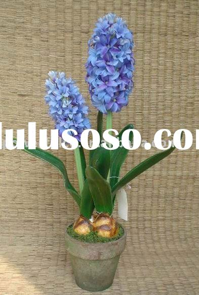 Artificial silk fabric dried plastic flowers hyacinth topiary