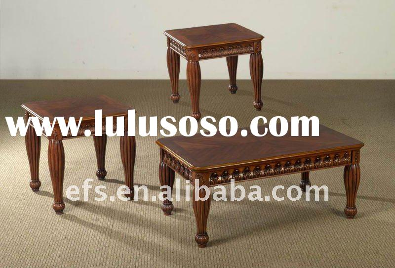 Beautiful useful hand carved hot sell antique MDF top wood coffee table(EFS-T-16)