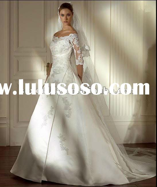 Best selling Latest new fashion style Lace 2012 long sleeve wedding dresses