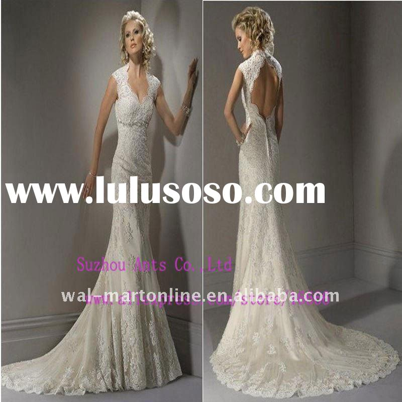 CW077 Gorgeous Sleeveless Ivory Mermaid Lace Open Back Wedding Dress