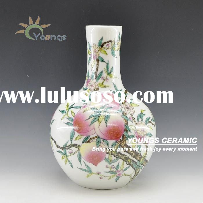 Chinese antique hand made & hand painted peach vase