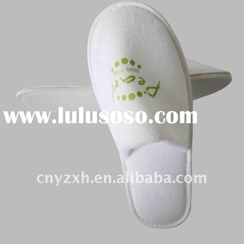 Disposable Towel hotel slippers , white cotton terry slippers