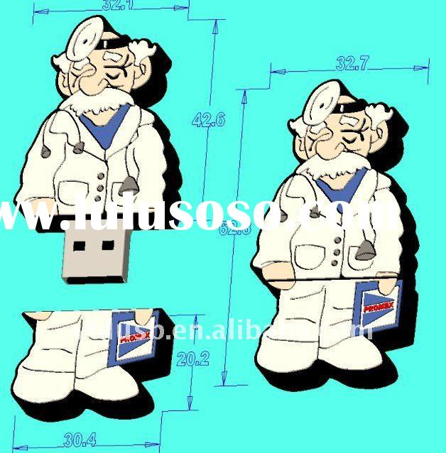Doctor shape bespoke usb flash drive, OEM customized shape usb flash disk