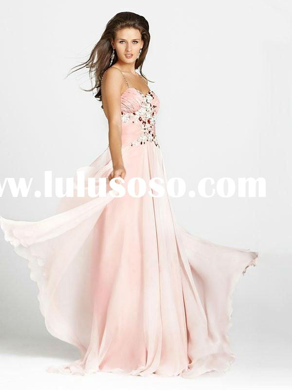 ED156 --Charming Spaghetti strap Chiffon Beading Evening Dress
