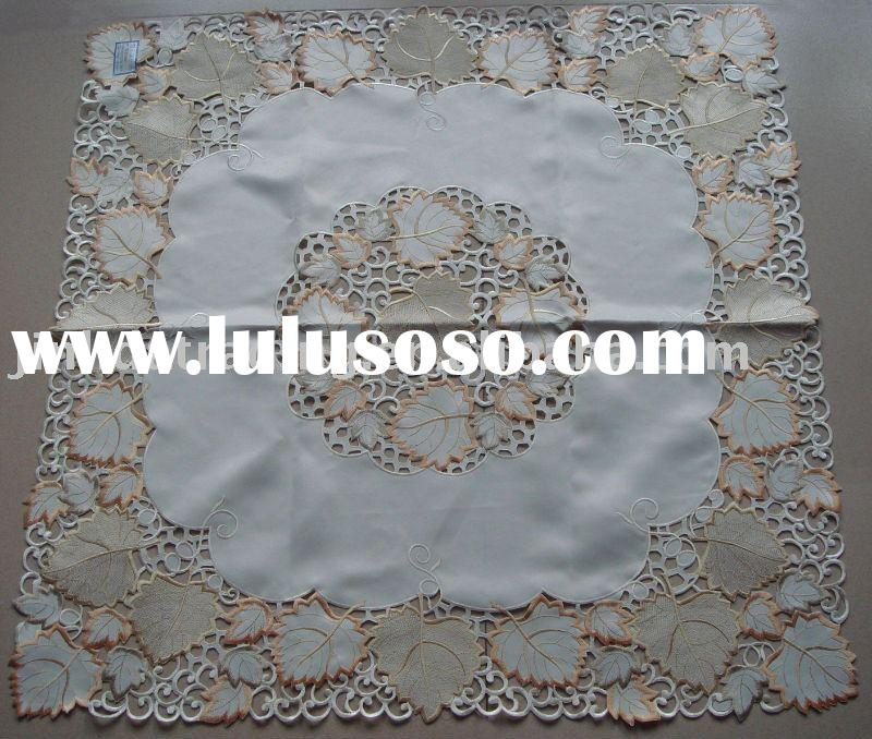 Embroidery table cloth with autumn leaves design, polyester tablecloth, table cover