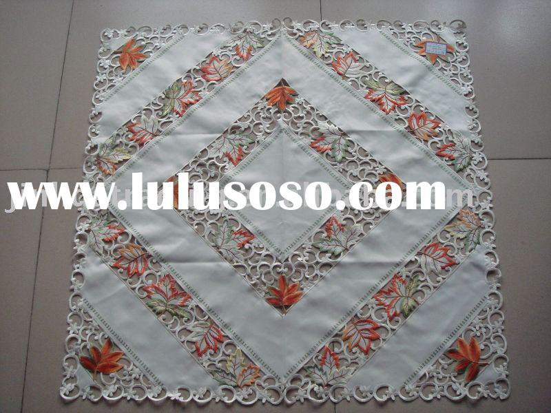 Embroidery table cloth with autumn red leaves design, polyester tablecloth, table cover