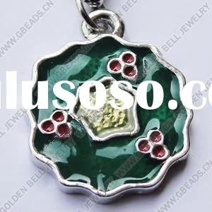 Enamel charm pendant, zinc alloy, platina plated, lead-free, nickel-free, flower, A grade, 21x16mm,