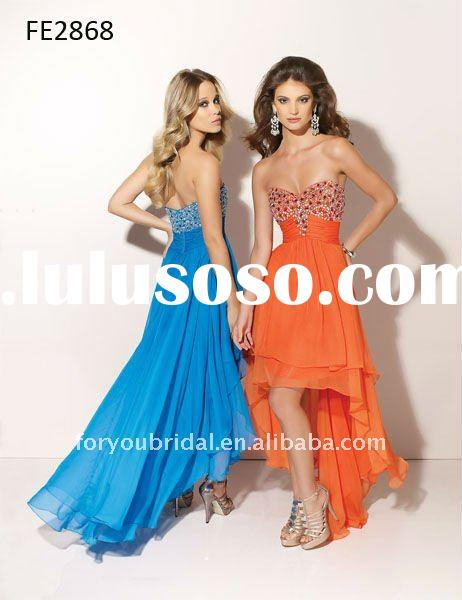 FE2868 Blue Asymmetrical Chiffon Sleeveless Short Front Long Back Evening Dress