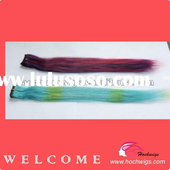 Factory Hot Sale High Quality Colored Hair Extensions With Hair Clips ,Real Human Hair With Paypal