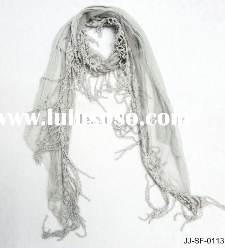 Fashion Lady Summer Scarf with Lace