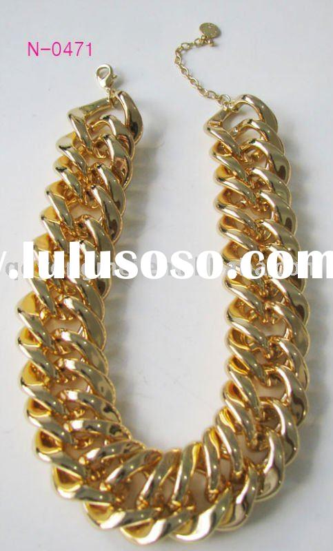Fashion costume jewelry gold plated thick chain necklace