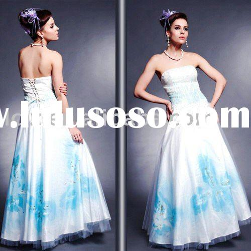 Fast shipping ladies fashion dress long blue, white sequins strapless backless Ballgown printed silk