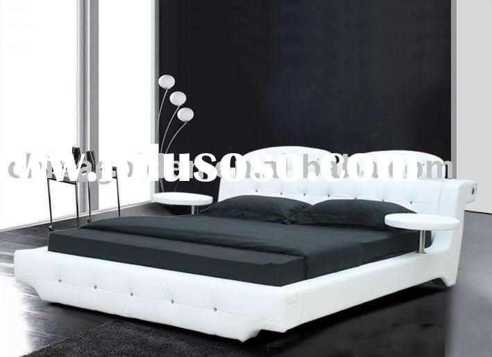 Foshan Golden furniture modern white leather bed,bedroom leather bed 2842#