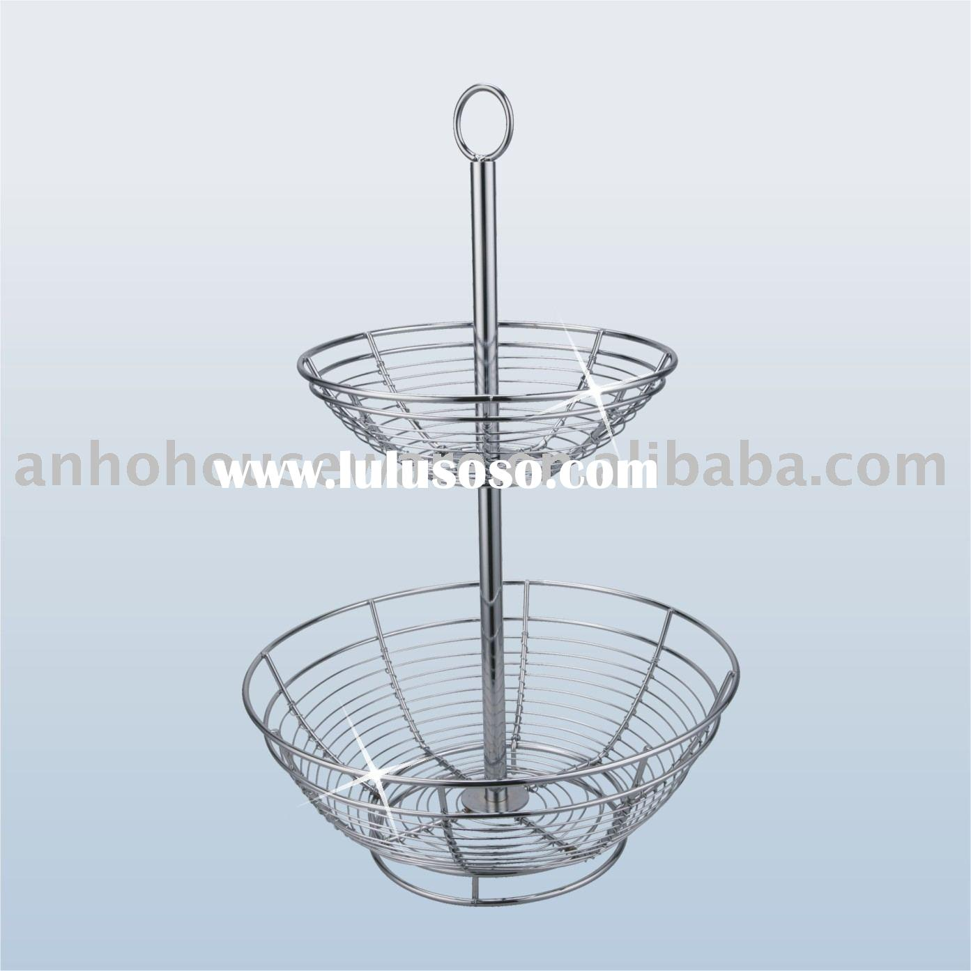 Fruit rack, Metal rack, Metal fruit rack, Stainless steel rack ,wire rack,Metal Fruit Basket 2 tier,