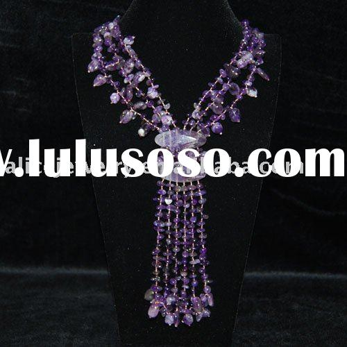 GN004 Natural Amethyst Freeform Necklace fashion jewelry