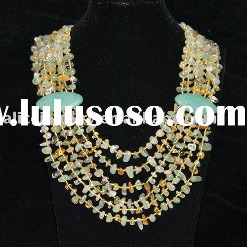 GN018 Natural Citrine and Green Aventurine Freeform Necklace Semi-precious Stone Wholesale