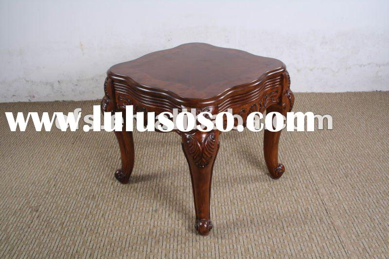 Hand carved MDF top solid wood legs antique end table