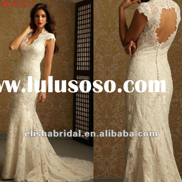 Hot Sale Scop Neck Mermaid Open Back Lace Wedding Dress