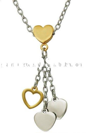 IPG 2 tone heart necklace ladies fashion accessories stainless steel jewelry