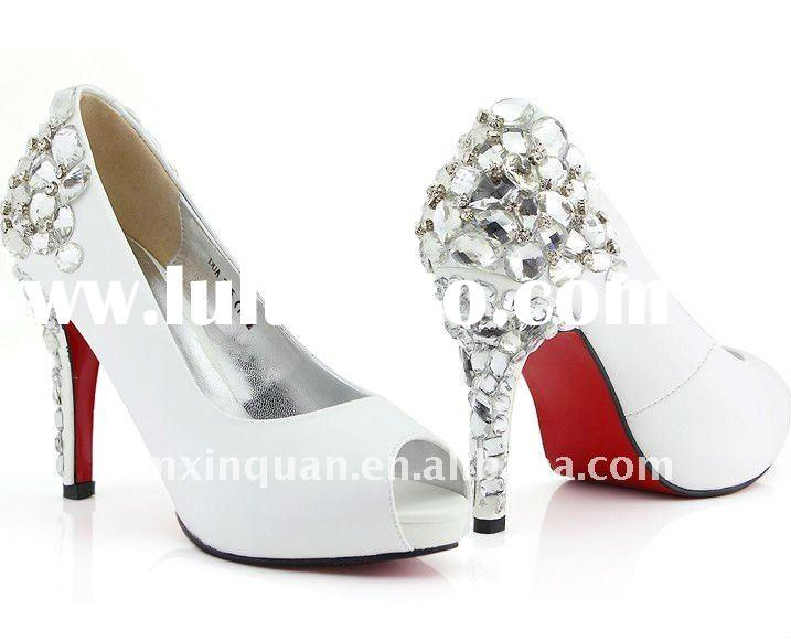 JWS004 Fashion 2011 customize crystal diamond beaded high heel wedding shoes