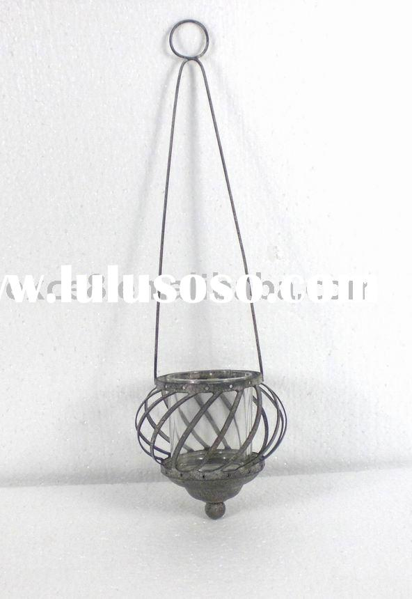 KS4286F- hanging metal wire and glass candle holder