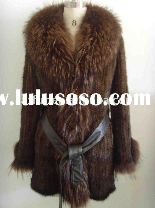 Knitted Mink Fur Coat with Fox Collar