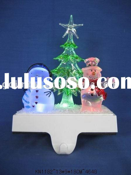LED color-changing acrylic snowman stocking holder with Christmas tree