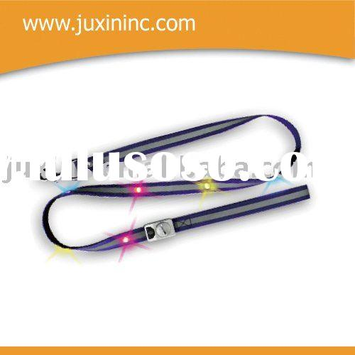 LED pet leash with reflective ribbon