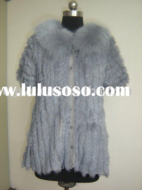 Lady's trendy knitted rabbit fur coat with fox fur collar
