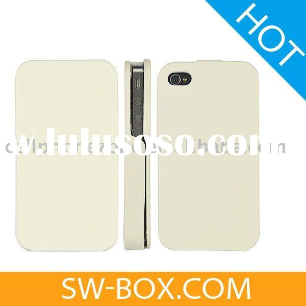 Leather Flip Case Skin Cover for iPhone 4 (White) /for iphone4 case
