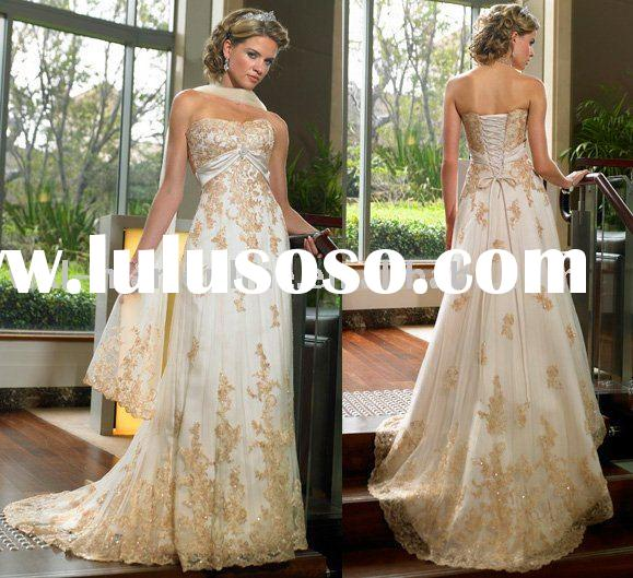 MG019 Gorgeous Appliqued Strapless A-line Lace Vintage Wedding Dress