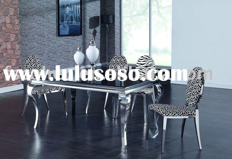 Modern Glass Top Stainless steel frame Dining Table Designs