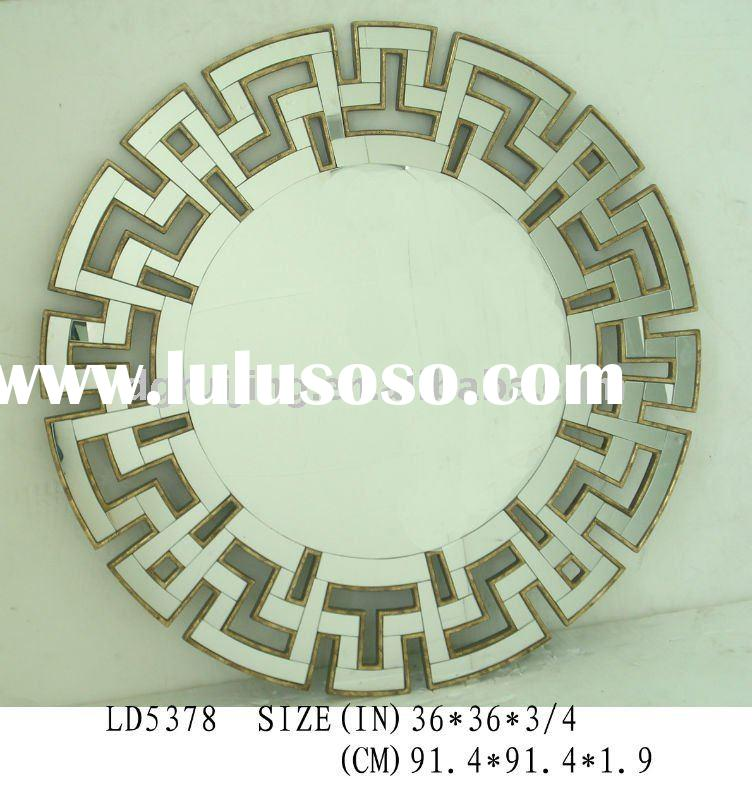 Modern style wall mirror with antique gold middle frame