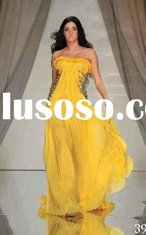 Muslim299 2011 special lebanon gold yellow chiffon with sparkle crystals muslim evening dress