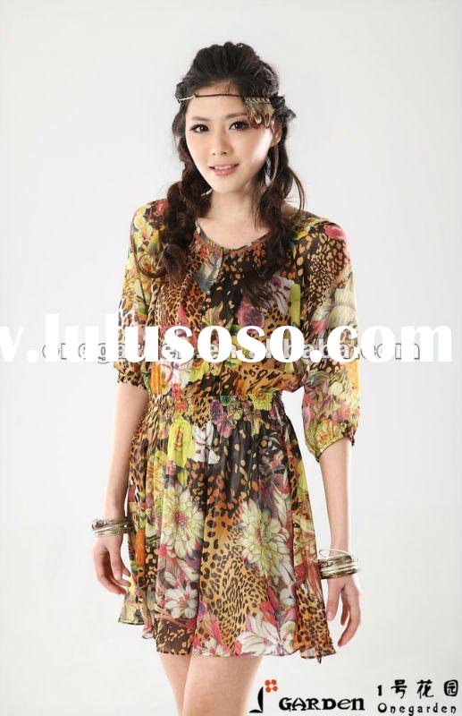 New Design Ladies Fashion Short Sleeve Casual Dresses 2012 For Summer