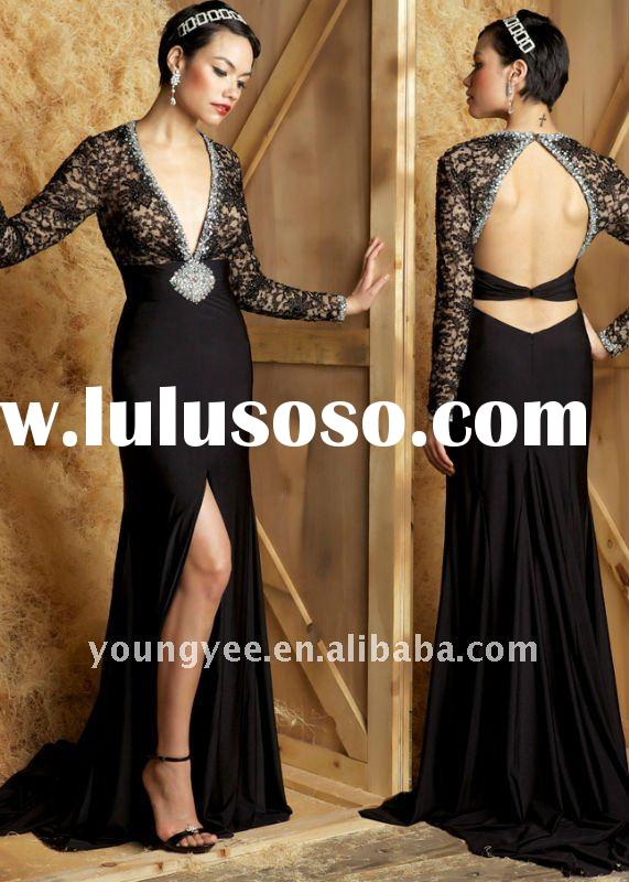 New grant beaded backless empire waist long sleeve evening dress formal evening dress 2012