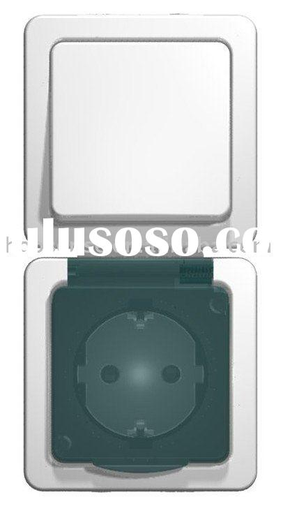 Outdoor Waterproof IP54 / IP44 One Gang Two Way Wall Switch & Schuko Socket, vertical