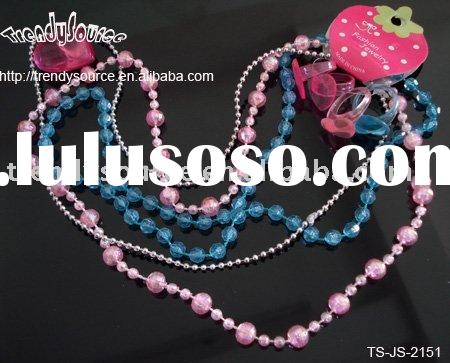 POPULAR STRETCH BEADED NECKLACE AND RING SET FOR KIDS
