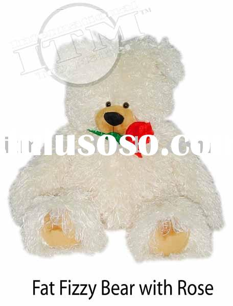 Plush Toy Fat Fizzy Bear with Rose