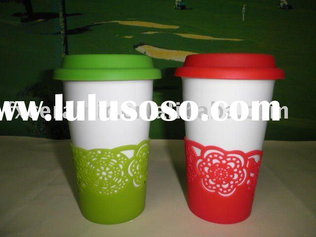 Porcelain mug with silicone lid & band (thermal mug)